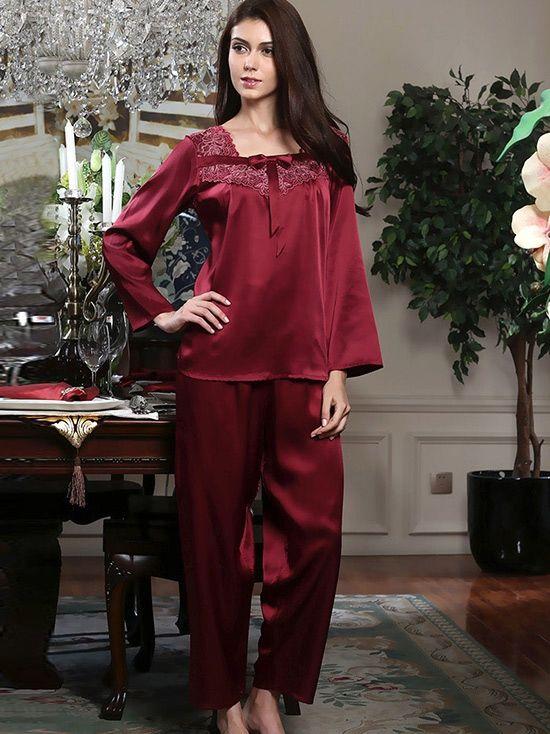 Long Sleeves Silk Pajama Set #silk #Pajama
