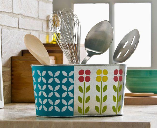 image vintage kitchen craft ideas. Cool Vintage Craft Idea For The Kitchen: Retro Floral Kitchen Container With FolkArt Multi- Image Ideas N