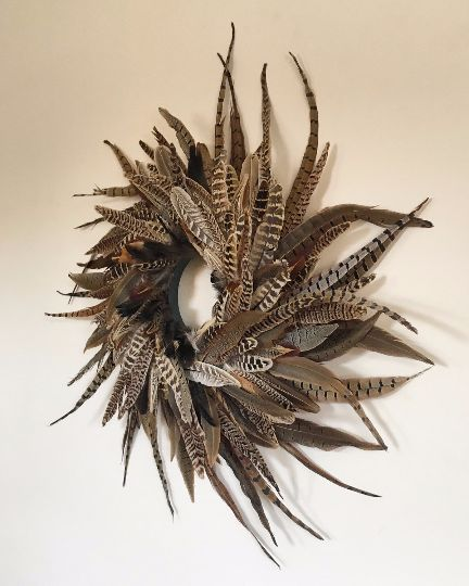 Spiral Pheasant Feather Wreath