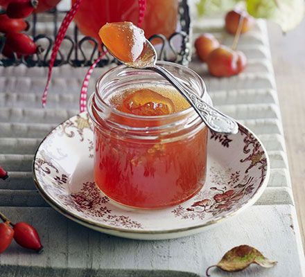 Use up wild rosehips and crab apples in this sparkling jelly preserve - as good on toast as it is with roast meats