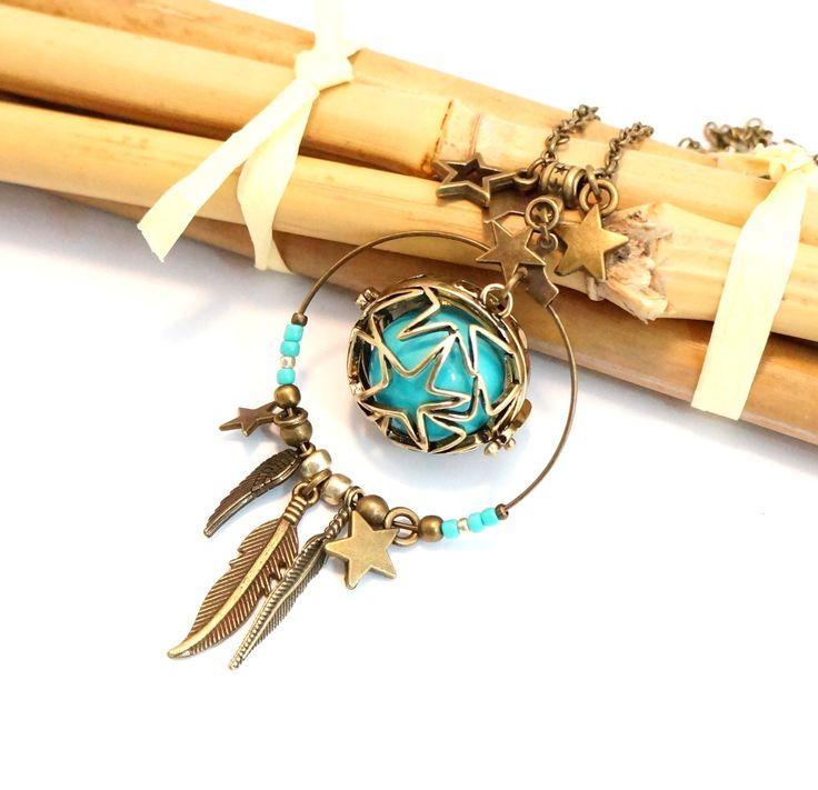 Bola de grossesse Cage Bronze étoilée Bille musicale bleu turquoise Cercle Attrape-rêve étoile plume : Collier par crea-douceurs