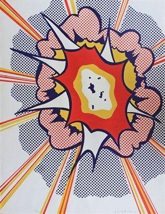 """roy lichtenstein, """"explosion,"""" lithograph, 1967."""