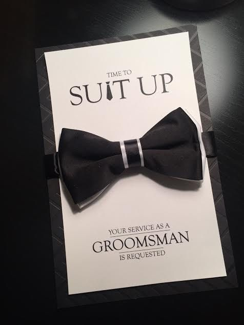 Groomsman Card Time To Suit Up Bow Tie Card Your by