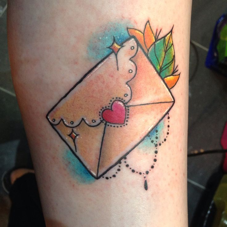 Cute little envelope tattoo by Miss Shiv at Inkers Tattoo Chertsey ...