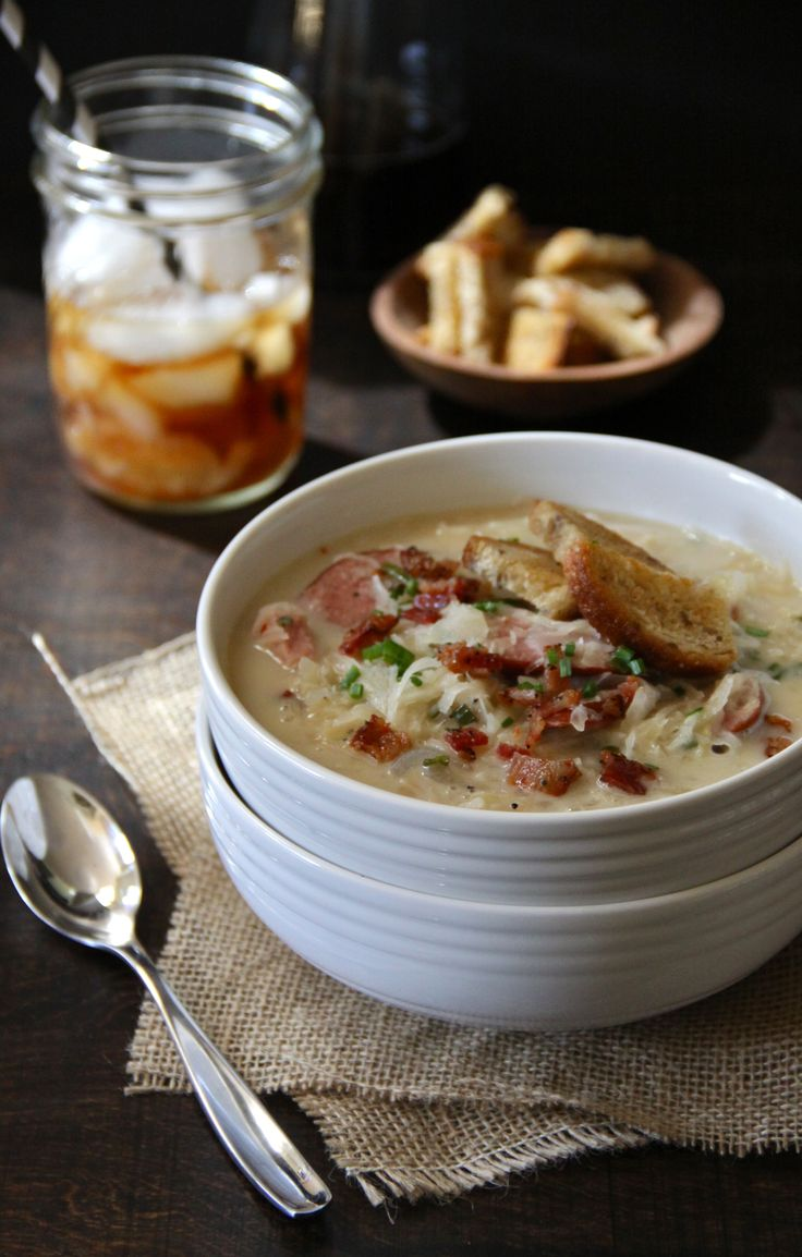 spicy reuben chowder with brown butter rye croutons www.climbinggriermountain.com