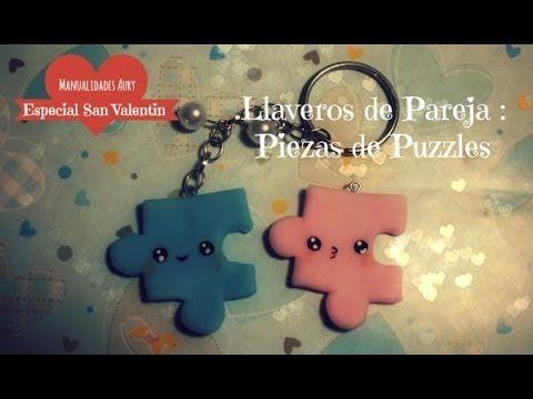 Especial San Valentín N°1: Llaveros de pareja: Piezas de Puzzle (Porcela...