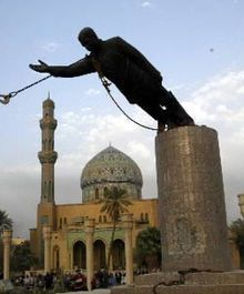 The famous April 2003 toppling of Saddam Hussein's statue in Firdos Square in Baghdad shortly after the Iraq War invasion