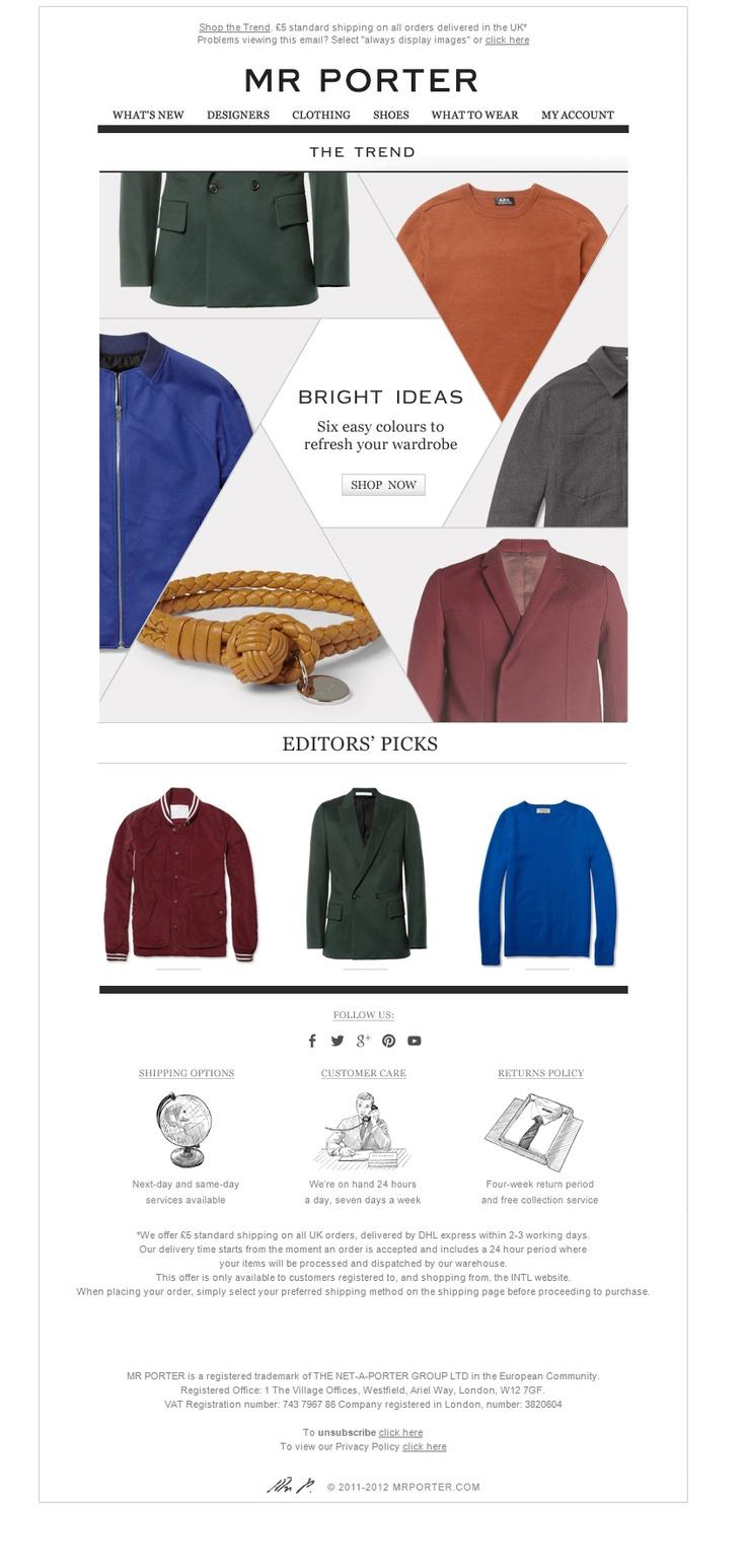 Mr. Porter Newsletter.  Hexagon based layout.  Fashion