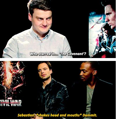 "Sebastian Stan & Anthony Mackie interview - ""The Covenant"" question. (Language)"