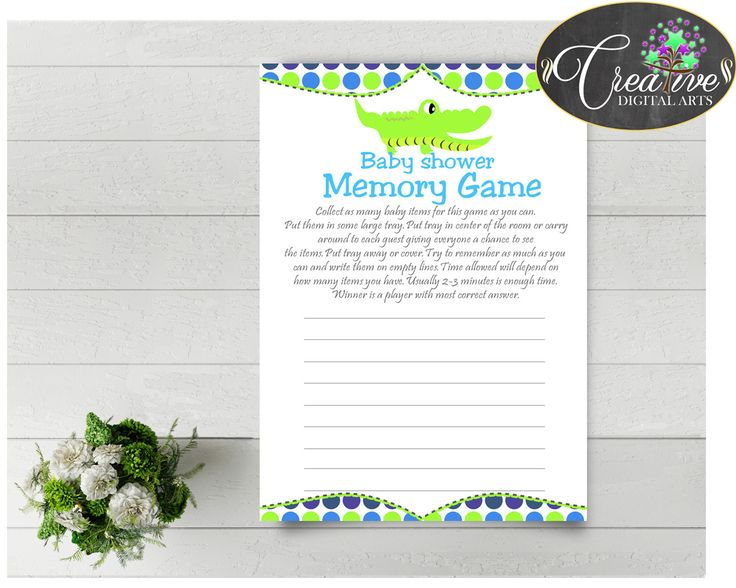 Baby Shower MEMORY Game With Green Alligator And Blue Color Theme, Instant  Download   Ap002