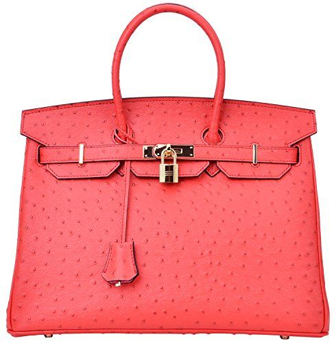 06a5e7f74f Luxury Women's Genuine Leather Embossed Ostrich Top Handle Padlock Handbags