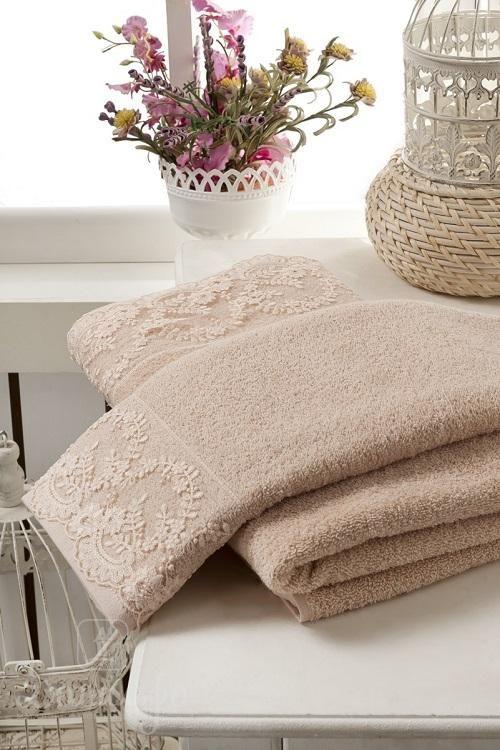 Набор махровых полотенец с гипюром KARNA ELINDA кофейный (2шт) от Karna (Турция) - купить по низкой цене в интернет магазине Домильфо