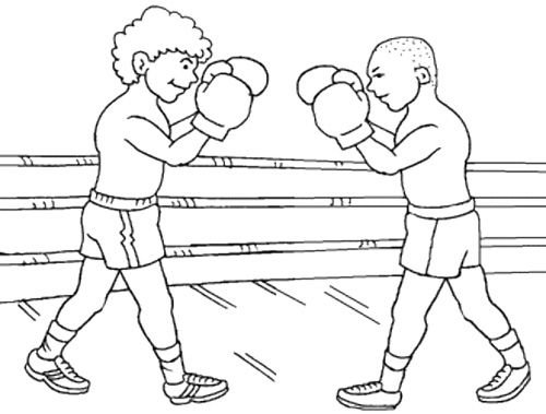 Two boxer ready fight coloring page boxing day pinterest for Boxing coloring pages