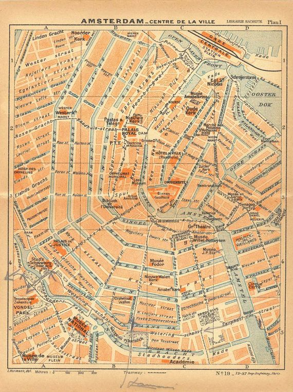 1938 Amsterdam City Centre Street Plan by CarambasVintage on Etsy, $16.00