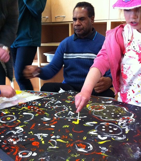 Painting with Uncle Bruce at the Auburn Long Day Care Centre for #NAIDOC Week.