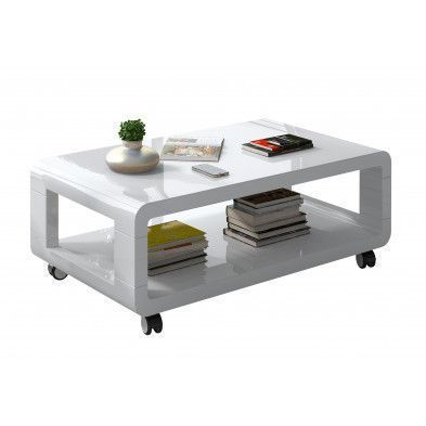 table basse roulette coloris blanc laqu - Table Basse A Roulettes