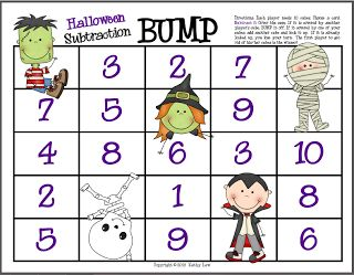 First Grade a la Carte: FREE Halloween Subtraction Bump Game