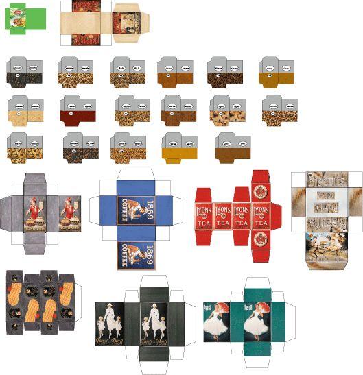 Imprimables - maison de poupée - vitrines miniatures