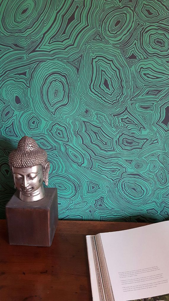Malachite Wallpaper  The paper is made of malachite sections on the black and green colors. Perfect to give a sophisticated touch to an environment that goes very well with gold color and with dark woods.  The package contains 8 blueback PAPER SHEETS 115 gr. Each sheet measures 27,56 /39,37 or 70cm /100 cm. Each set covers 59.20 ft² or 5.5mq. Our wallpapers are made of paper as the original eighteenth-century English tradition!  Each sheet contains the entire press and is therefore very…
