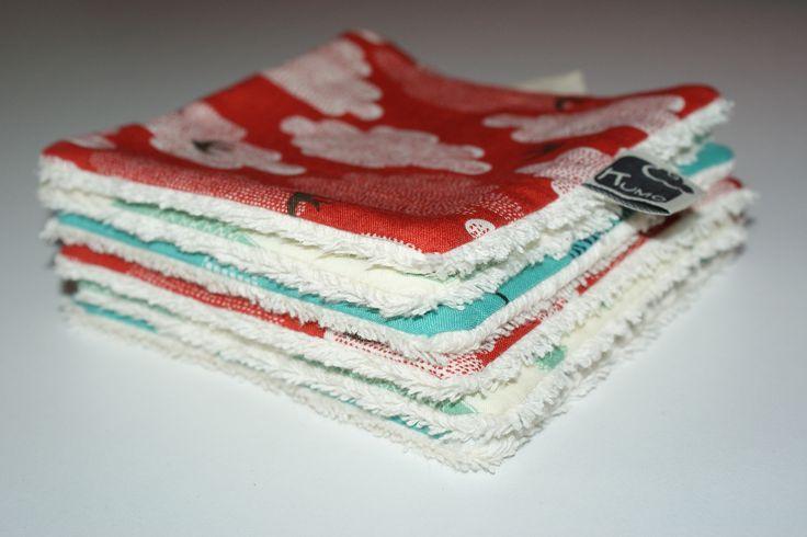 Lingettes/Débarbouillettes lavables mixtes en Coton Bio, fait-main Kumoandfriends : Puériculture par kumoandfriends