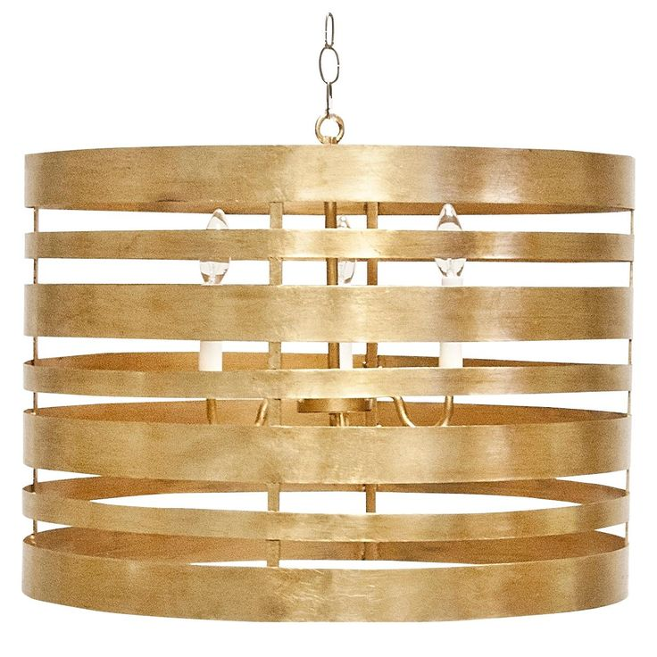 Gold Leaf Metal Striped Pendant with 3 Light Cluster. Uses 3 Chandelier Bulbs. Each socket UL approved for 40 watts. Total wattage of pendant 120 watts.