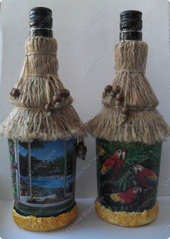 Декор предметов Декупаж лето  море  экзотика  Бутылки стеклянные фото 1