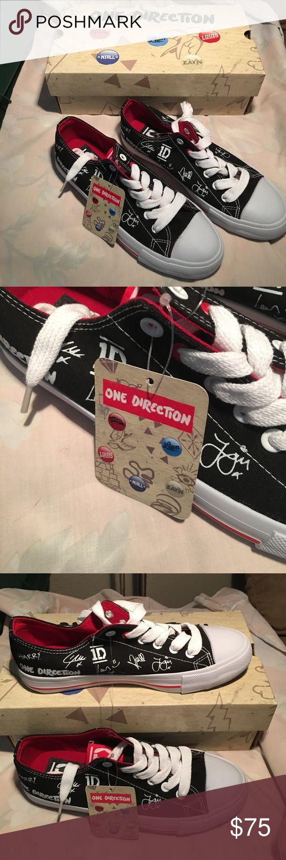 """🆕 ONE DIRECTION AUTOGRAPH SNEAKERS - RARE - NWT! Brand new with tags and in the box """"One Direction"""" Collector sneakers!  Never even been tried on or walked in!  Made in Belgium!  Has Harry's autograph as well! One Direction Shoes Sneakers"""