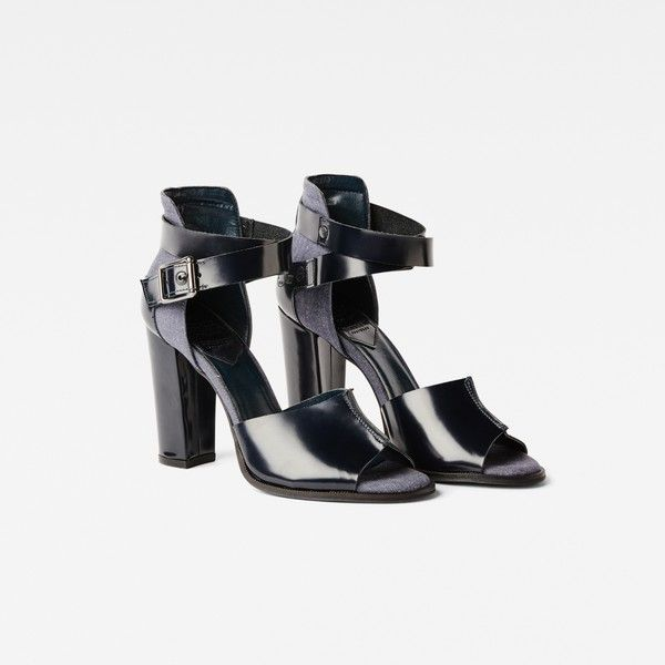 G-Star Raw Revend Heel Sandal ($195) ❤ liked on Polyvore featuring shoes, sandals, chambray, ankle strap shoes, leather heeled sandals, leather shoes, high heel shoes and ankle tie sandals