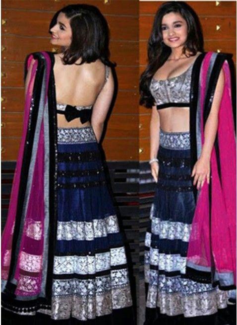 Alia Bhatt Blue and Black #Lehenga_Choli