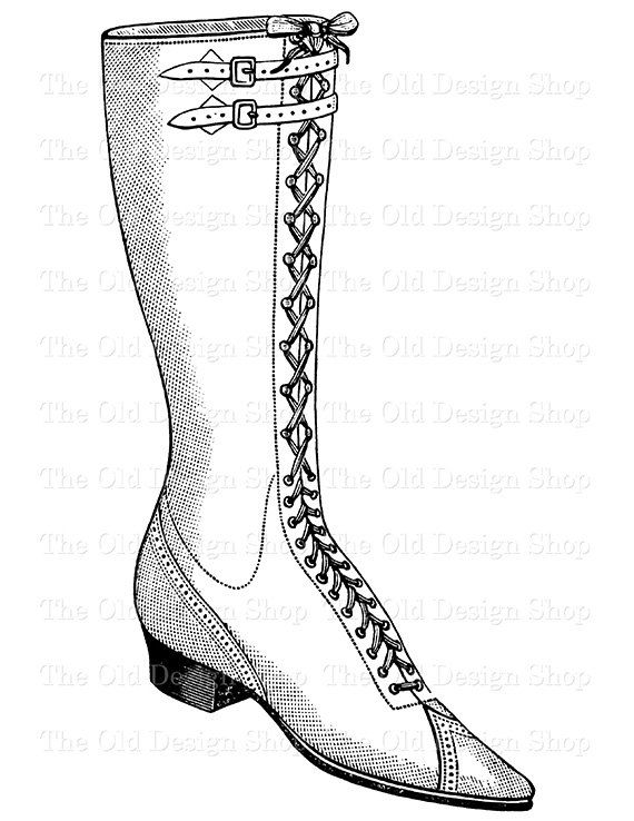 Victorian Ladies Bicycle Boot Clip Art by TheOldDesignShop on Etsy