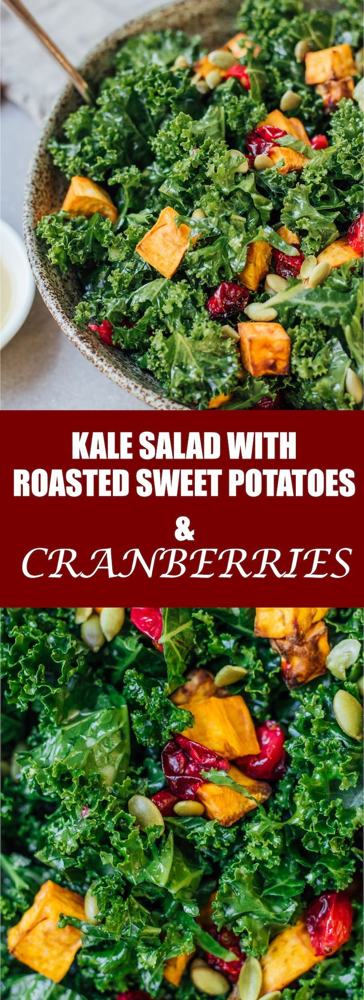 This kale salad is healthy, yet comforting. It's loaded with roasted sweet potatoes and roasted cranberries!