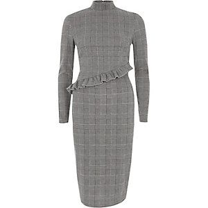 Grey check frill high neck midi dress