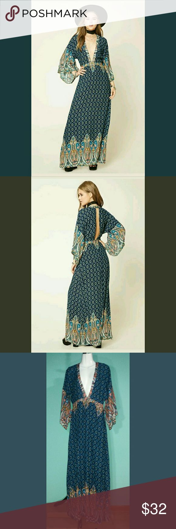 """Forever 21 Plunging Front Open Back Dress Colors: Navy Olive Paprika Marine Blue Cream BlushBlack  Flat Measurements: Shoulders: 28"""" Sleeve: 12""""Chest: 22"""" Side Length: 50.5"""" Back Length: 59"""" Zipper: 7""""  FEATURES: You will be Boho Coachella ready with dress. Lightweight, fun flirty & feminine. Contrasting Demask and Paisley prints. Vented Komono Sleeves. Short hidden back zipper. Lined from waist to upper thigh. 100% Rayon Shell /Polyester lining. Forever 21 Dresses Maxi"""