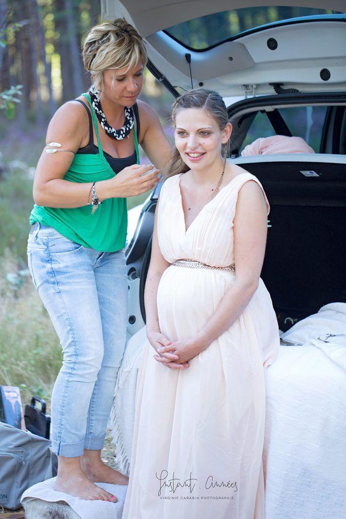 seance lovely maternity, grossesse en foret, coiffure et maquillage pro