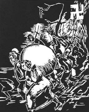 "Alex Topchevsky (1911–1999) ~ ""Exodus from Germany""  ~  from the portfolio A Gift to Biro-Bidjan, 1937 Woodcut, 9 15/16 x 7 7/8 in.  ~  Oakton Community College"
