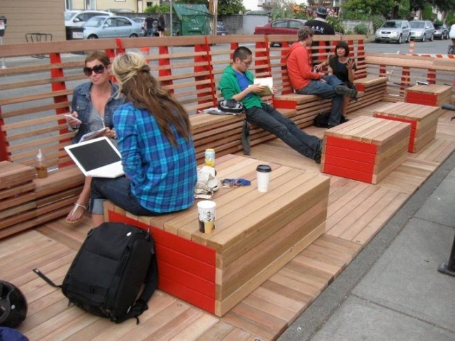 Parallel Park Urban Bench Design. Great for school playground. Bench, lookout platform, table, stage?