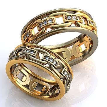 Связанные одной цепью навсегда. Очень символичные парные обручальные кольца. Только в Evora.ru