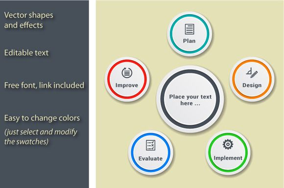 5 steps process - infographic ~ Illustrations on Creative Market