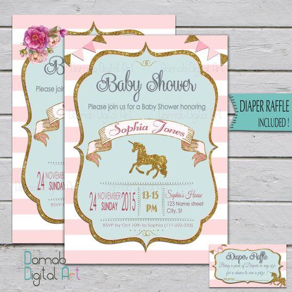 Unicorn Baby Shower Invitation Unicorn invitation by DamabDigital