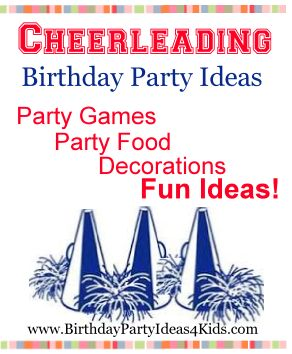 Cheerleading Birthday Party Ideas!  Fun games, activities, decorations, invitation ideas and a FREE tutorial on how to make easy and cheap rooter poms from $1.00 plastic table cloths!  http://www.birthdaypartyideas4kids.com/cheerleading-birthday-theme.htm  Fun party ideas for kids, tweens and teens ages 2, 3, 4, 5, 6, 7, 8, 9, 10, 11, 12, 13, 14, 15, 16, 17 years old.
