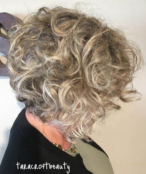 Curly Messy Brown and Gray Hairstyle