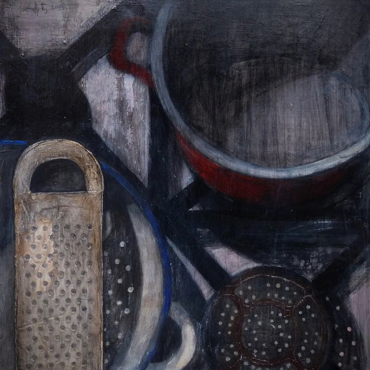 Noodle-cooking, Ilona Istvanffy Painting: Paint Size: 19.7 H x 19.7 W x 0.4 in  This is a cooking top. The water is boiling in the pot. The noodle-maker has a rest in a bowl.