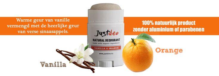 Vanilla & Orange natural deodorant, natuurlijke deodorant zonder aluminium of parabenen