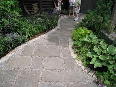 stone and pea gravel walkway