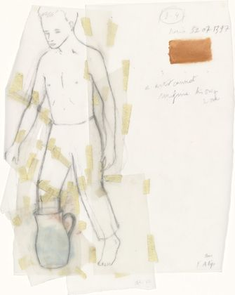 Francis Alÿs, Untitled: Boy with Jug (2000), oil, pencil, and pressure-sensitive tape on two pieces of transparentized paper, 12 x 8 in.