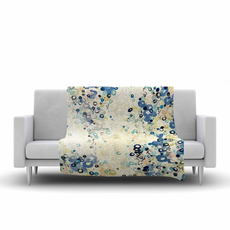 "Ebi Emporium ""And It's Up She Goes"" Blue Cream Fleece Throw Blanket"
