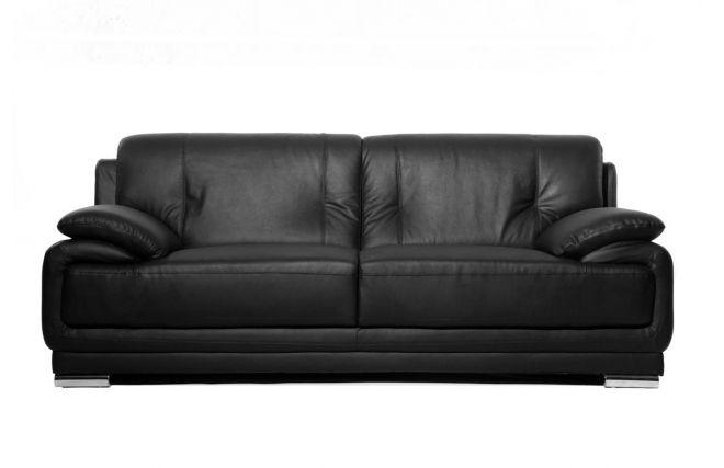 Canapé cuir design noir 3 places TAMARA prix Soldes Miliboo 599,00 € TTC au lieu de 799 €
