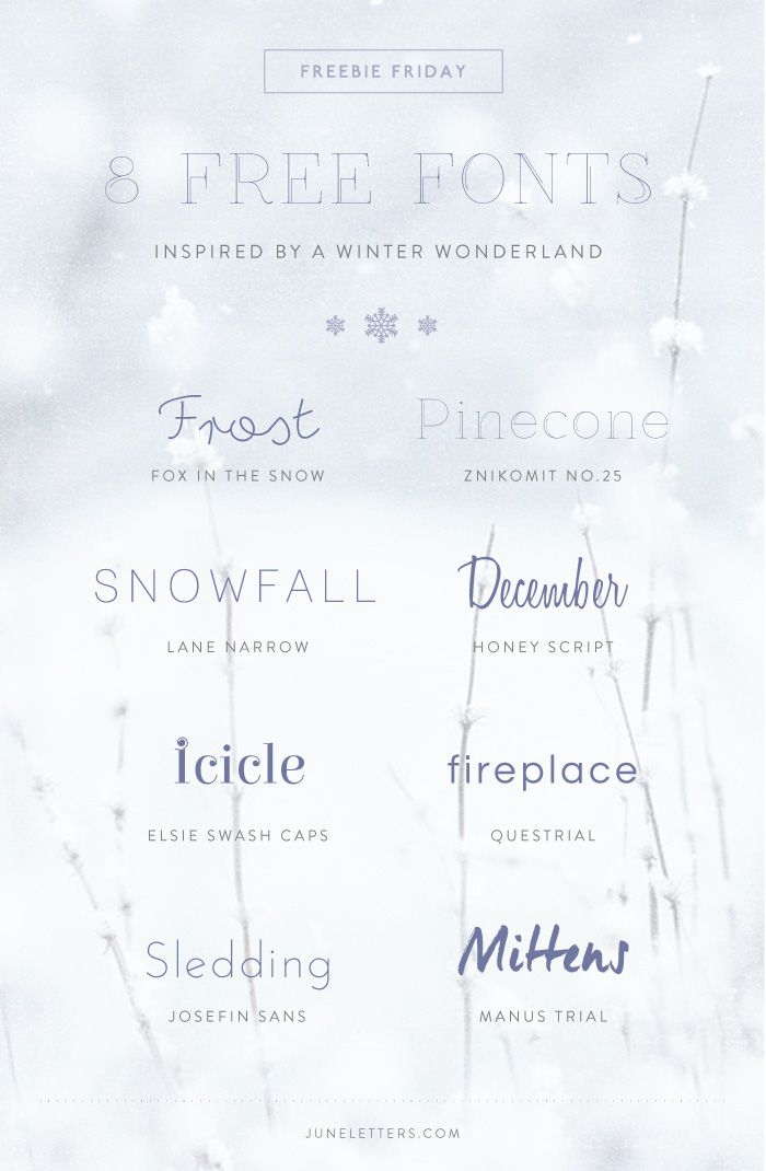 Freebie Friday: 8 Free Fonts Inspired by a Winter Wonderland — June Letters Studio  ~~ {w/ easy download links}