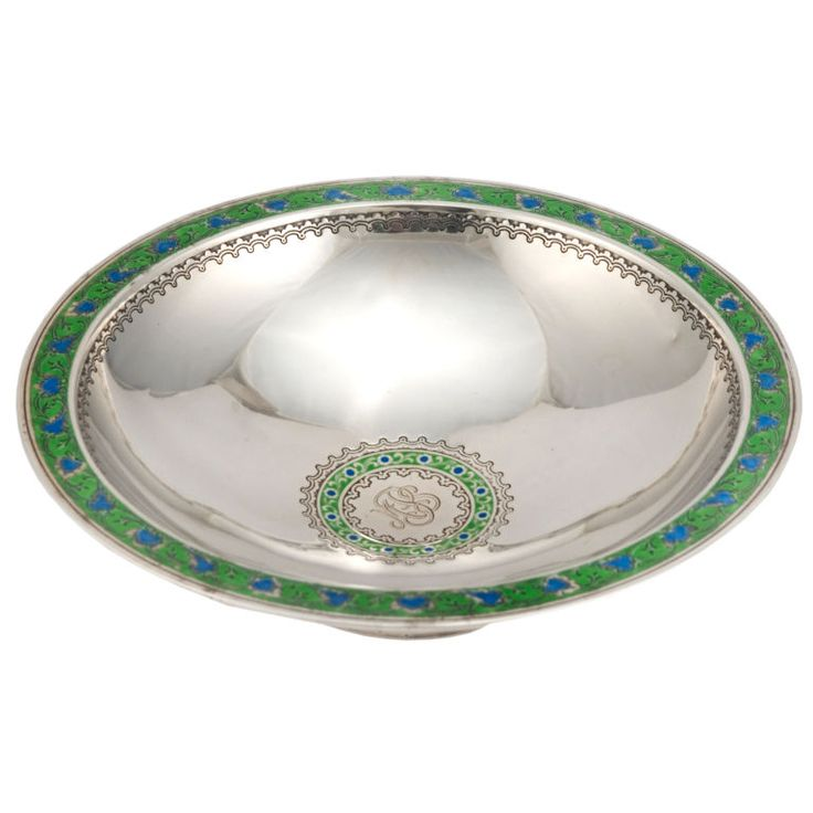 sterling silver centerpieces | Art Deco Tiffany Sterling Silver Centerpiece Bowl Enamel at 1stdibs