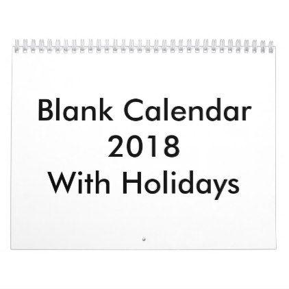 2018 blank calendar with holidays